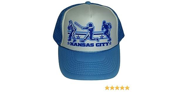61ce8c5f Kansas City Baseball Mesh Snapback Trucker Hat Cap Powder Blue