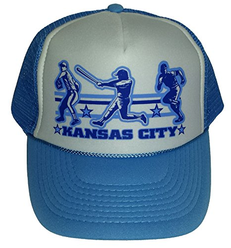 ThatsRad Kansas City Baseball Mesh Snapback Trucker Hat Cap Powder Blue