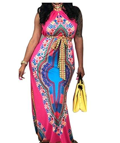 Jaycargogo Impression Dashiki Femmes Boho Partie Licol Sans Manches Longue Robe Maxi Rose Rouge
