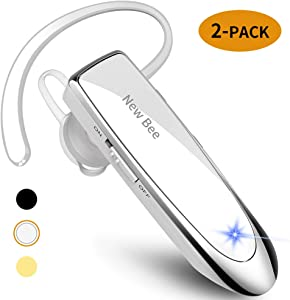 [2 Pack] New bee Bluetooth Earpiece V5.0 Wireless Handsfree Headset 24 Hrs Driving Headset 60 Days Standby Time with Noise Cancelling Mic Headsetcase for iPhone Android Laptop Truck Driver(White)