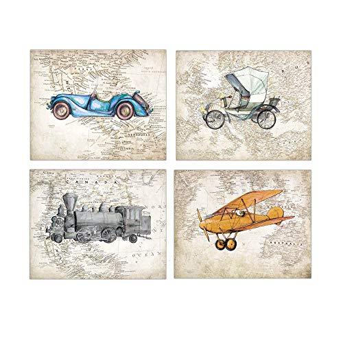 (Vintage Train Car Airplane on World Map FOUR 8x10 prints)