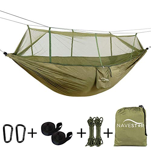 NAVESTAR Double Hammock with Mosquito Net, 440 Pounds Capacity, Sturdy & Lightweight for Outdoor Backpacking Camping Trip Hiking/Indoor Garden Yard (Updated Army Green)