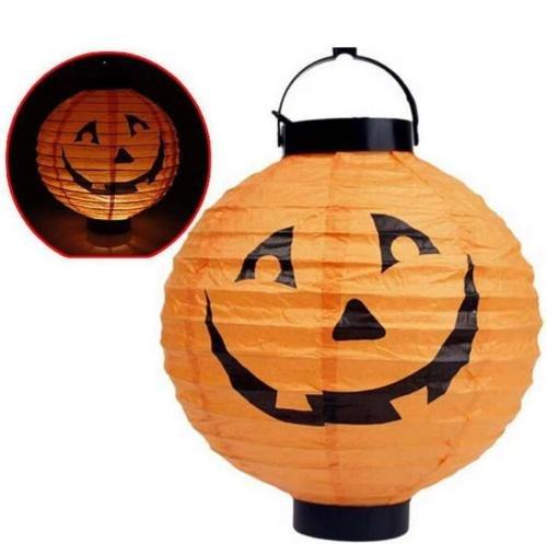 Diy Cop Costumes (UNAKIM --Vintage Halloween Festival Party Decor LED Pumpkin Spider DIY Paper Lantern MC)