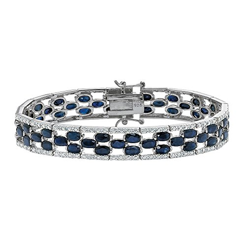 Oval-Cut Genuine Midnight Blue Sapphire Platinum over .925 Sterling Silver Bracelet 7.25""