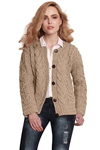 Ladies Irish Merino Wool Cardigan made in Ireland, Large (Womens Aran Cardigan)