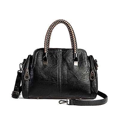 Women Boston Bags Top Handle Knit Satchel Handbags Faux Leather Shoulder Purse Black Size: One Size