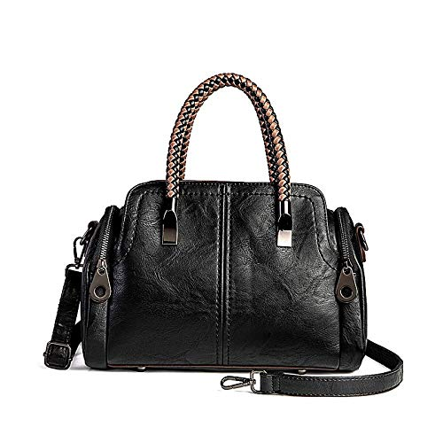 Women Boston Bags Top Handle Knit Satchel Handbags Faux Leather Shoulder Purse - Black - Handle Boston Bag