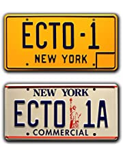 Ghostbusters | ECTO-1 + ECTO-1A | Metal Stamped License Plates