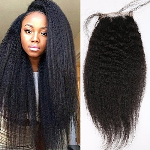 Meodi Hair Brazilian Human Hair Free Part Lace Closure Kinky Straight Bleached Knots with Baby Hair Natural Color Can be Dyed (16inch free part)