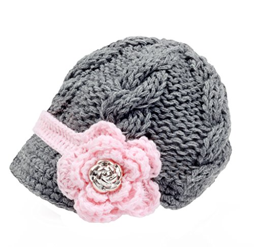Bestknit Handmade Newborn Toddler Baby Girls Crochet Knit Brim Cap Hat Medium Grey
