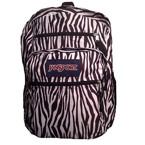 Dual Pocket Zebra - JanSport Big Student Backpack- Sale Colors (Black/White Zebra Stripe)
