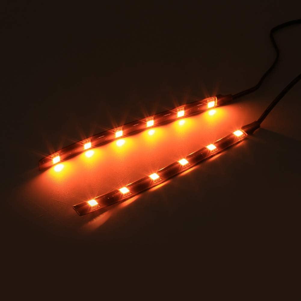 Qiilu 2x 6LED 5050 SMD Motorcycle LED Strip Turn Signal Indicator Blinker Light