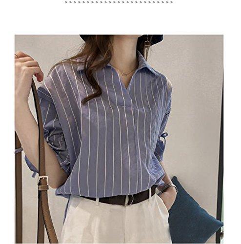 Bleu Tops Chemises T Fashion Femmes Lache Casual Demi Revers Manche Hauts Automne Printemps Shirt Raye JackenLOVE Blouses Shirt et HqT8Uxa