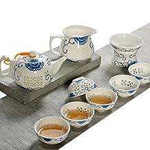 JKCOM Chinese Handmade KungFu Tea Set Porcelain/Ceramic Tea Service Tea Cups Teapot translucent(2 style)