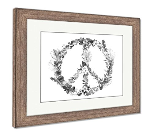 Ashley Framed Prints Peace Sign With Flowers Feathers In Boho