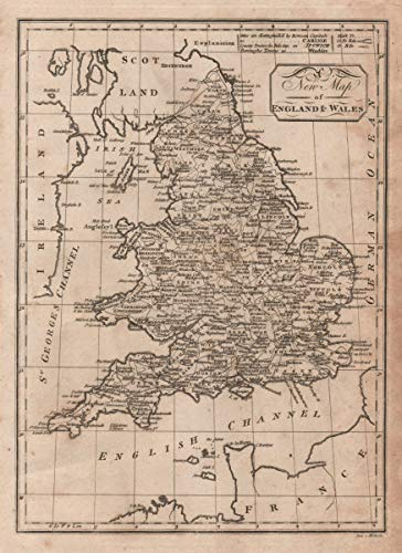 Map Of Uk 1800.Amazon Com A New Map Of England Wales Paas 1800 Old Map