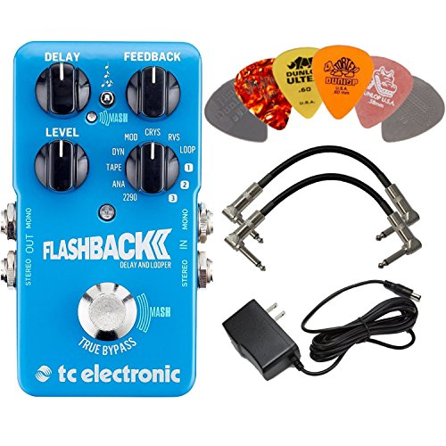 TC Electronic Flashback 2 Delay and Looper Pedal BUNDLE with AC/DC Adapter Power Supply for 9 Volt DC 1000mA, 2 Metal-Ended Guitar Patch Cables AND 6 Dunlop Guitar Picks