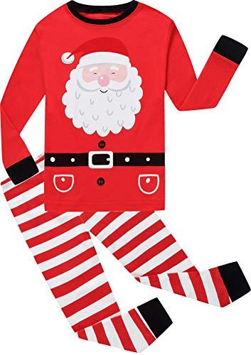 shelry Girls Stripe Christmas Pajamas Big Children Santa Claus Pjs Cute Sleepwear Kids Clothes Size 4 -
