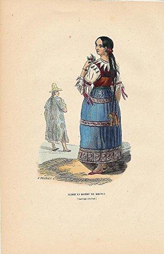 Bolivia man woman native costume 1844 original antique hand color ethnic print ()