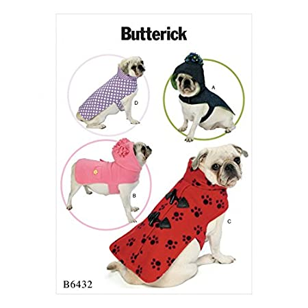 Butterick Pets Sewing Pattern 6432 Dog Coats With Collar Or Hood