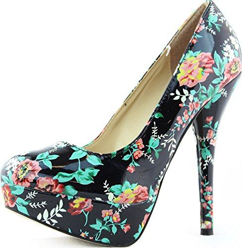 Womens Sexy Stilettos Pumps Round Toe Stilettos High Heel Floral Prints Fashion Shoes Black EDE9Ge6