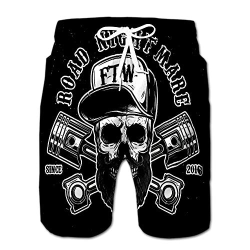 Road Nightmare Hipster Skull in Baseball Cap with Crossed Pistons Design Element Drawstring Shorts Beach Baskestball Pants L