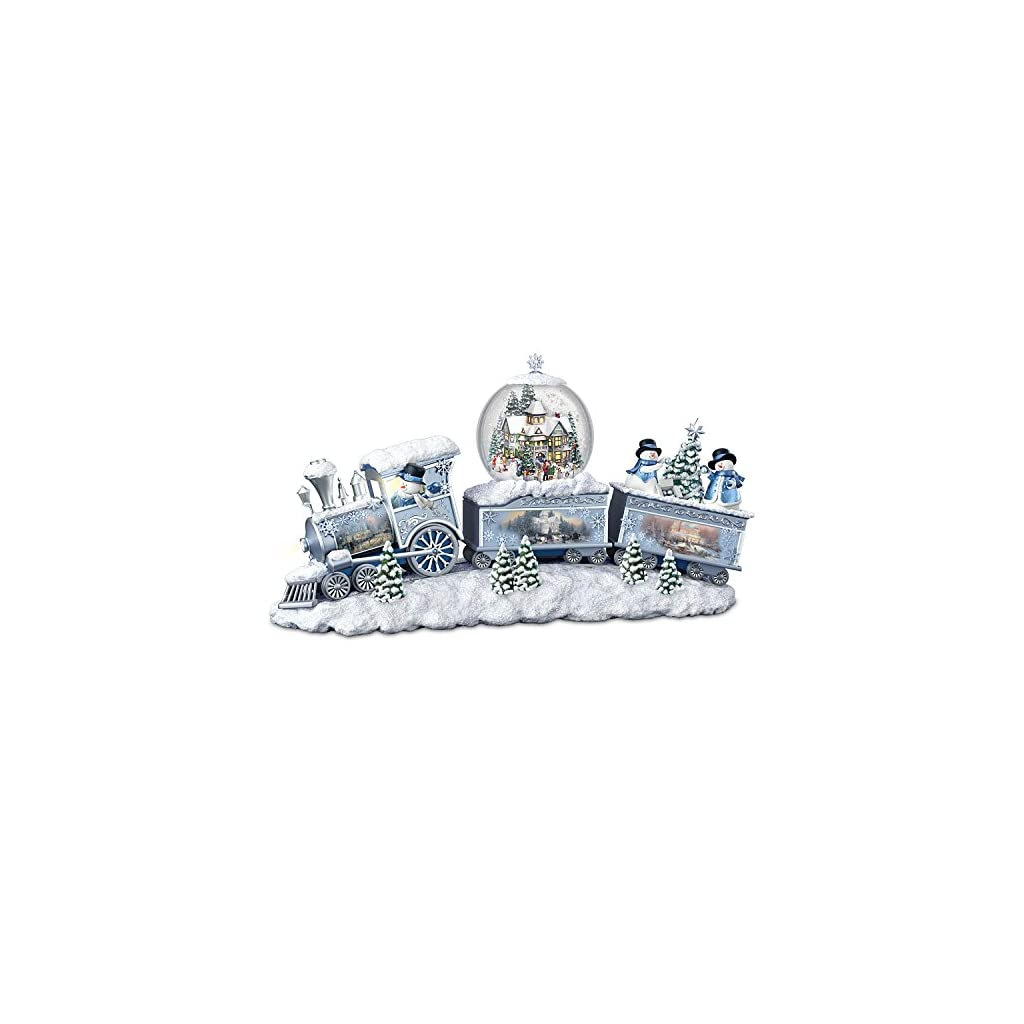 The Bradford Exchange Thomas Kinkade Snowfall Express Light Up Musical Snowman Snowglobe Train