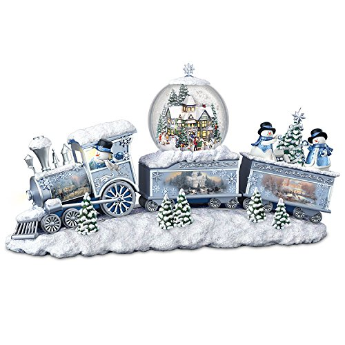 (Bradford Exchange Thomas Kinkade Snowfall Express Light Up Musical Snowman Snowglobe Train by The )