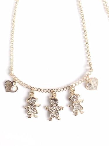 10365b7e3b02 Amazon.com  Gargantillas de mujer 18k gold plated 17.2 inches chain boy and  girl pendants choker necklace  Handmade