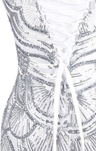 Sin De Lentejuelas Encaje Banquetes Angel Malla fashions Vestido Mujer Tirantes Amor Plateado El Hasta 00qIYZ