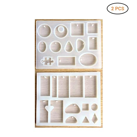 2 collares con forma de resina para manualidades y manualidades, diseño de molde de diferentes