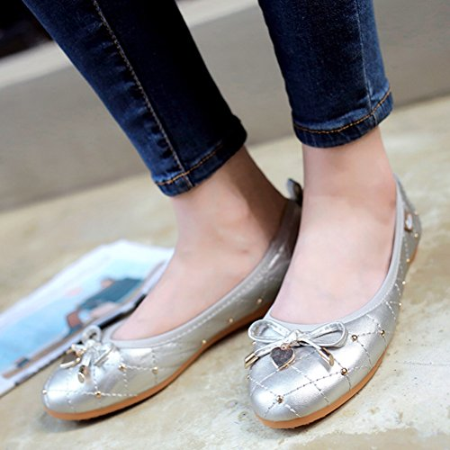 Flat Travel Foldable Minibee CH41 Portable Casual Silver Black Ballet Women's Shoes US 9 pnZxqCY1