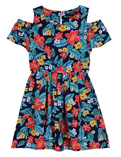 Dress Hawaiian Theme (Nautica Girls' Cold Shoulder Fashion Dress hawaiian navy)