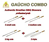 Brazilian Skewers for BBQ 28'' - Professional Grade - Set of 8 - Gaucho Combo