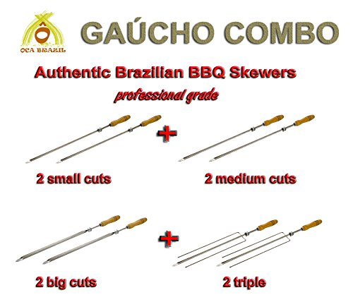 Brazilian Skewers for BBQ 28'' - Professional Grade - Set of 8 - Gaucho Combo by Oca-Brazil