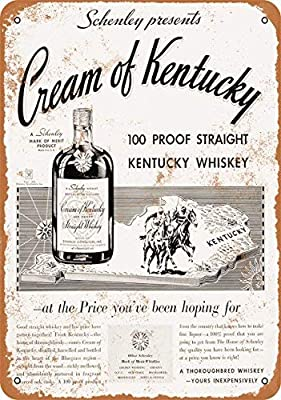 FemiaD Vintage Look Tin Sign 12 x 16-1934 Cream of Kentucky Straight Whiskey