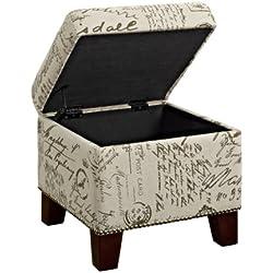Dorel Living Script Cube Ottoman with Storage