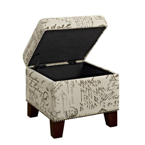 Dorel Living Script Cube Ottoman with Storage (Cube Upholstered Ottoman)