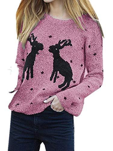 Yingsssq Rosa Maglione Manica Taglia Dimensione Invernali Eleganti Colore Natale Donna unica Maglie Lunga Rosa rz4Fr