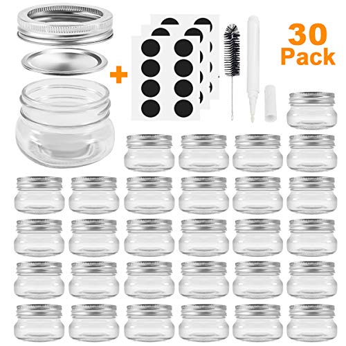 Mason Jars, SPANLA 4OZ Canning Jars Jelly Jars With Regular Silver Lids and Bands, Ideal for Jam, Honey, Wedding Favors, Shower Favors, Baby Foods, DIY Magnetic Spice Jars 30 PACK ()
