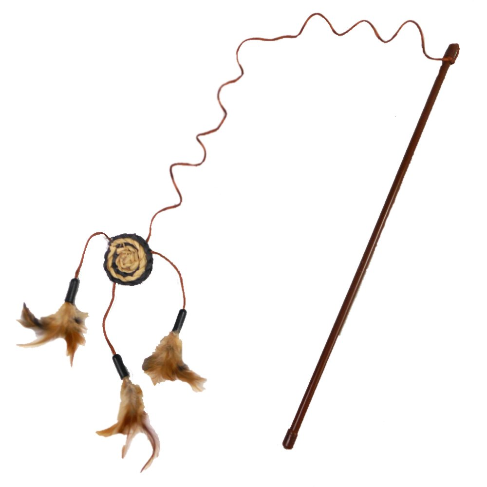 new Cat A Lack Wand with Dream Catcher and Feathers Cat Toy