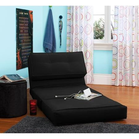Your Zone Flip Chair Rich Black Perfect for Any Room, Apartment or Small Space