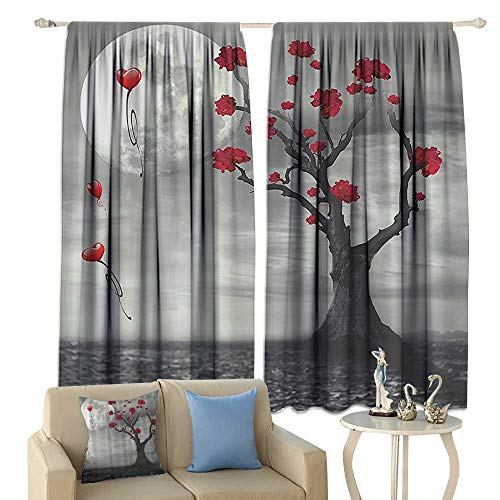 cobeDecor Apartment Art Insulated Sunshade Curtain Full Moon Flowers Abstract Fiance Gifts for Her Bathroom Celebration Moonlight Mystic Romance Lovely Noise Reducing