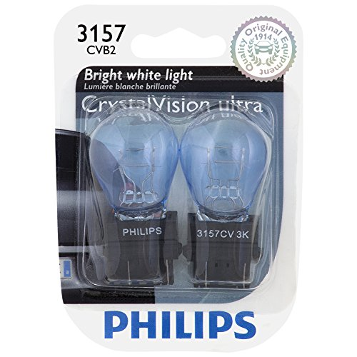 Philips 3157CVB2 3157 CrystalVision Ultra Miniature Bulb, 2 Pack ()