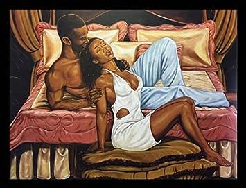 Pillow Talk Romance Couple – Johnny Myers 24×32 Black Framed – African American Black Art Print Wall Decor Poster 9e1