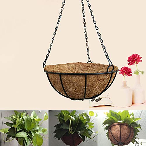 Art Garden Hanging Coconut Shell Vegetable Flower Pot Basket Planter Iron Decor - 12 Inches ()