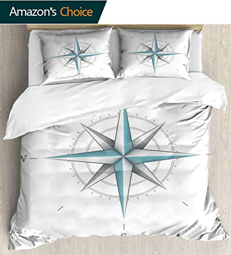 (Compass Kids Quilt 3 Piece Bedding Set,Antique Wind Rose Diagram for Cardinal Directions Axis of Earth Illustration with Sham and Decorative 2 Pillows,Full Queen 90