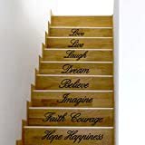 Hatop Love Live Laugh Dream Believe Imagine Faith courage Hope Happiness Decal Removable Wall Stickers Stair Decor