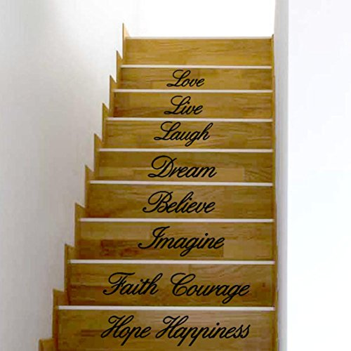 Hatop Love Live Laugh Dream Believe Imagine Courage Hope Happiness Decal Removable Wall Stickers Stair ()