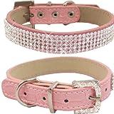 WwWSuppliers Crocodile PU Leather Bling Brilliant Sparkling Shine Flashy Rhinestones Adjustable Dog Puppy & Cat Luxury Cute Elegant Fashion Collar (Pink, Small)